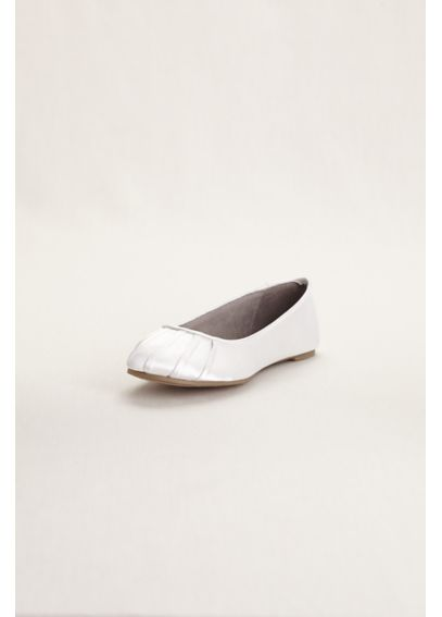 Dyeable Satin Pleated Toe Ballet Flat BALLETWHITE