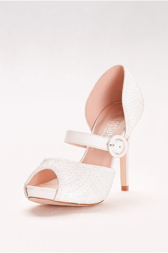 Pearl-Embellished Mary Jane Peep-Toe Heels - Wear pearls on your wedding day in a