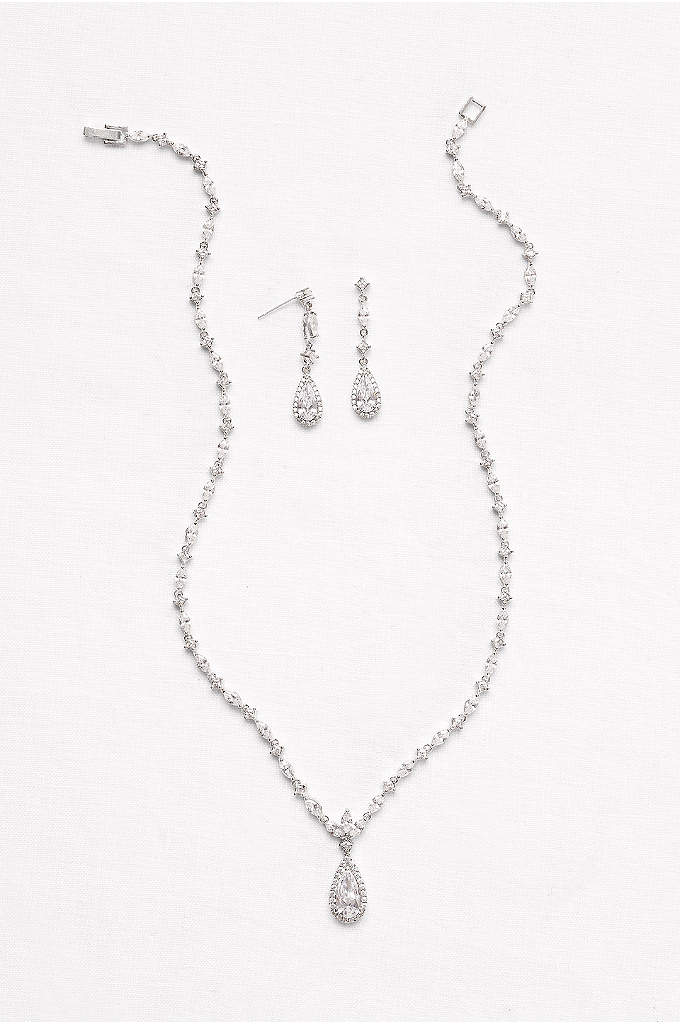 Dainty Cubic Zirconia Necklace and Earring Set - A halo-edged, pear-shaped cubic zirconia dangles from a