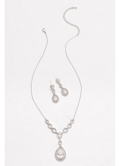 Layered Cubic Zirconia Necklace and Earring Set - Wedding Accessories