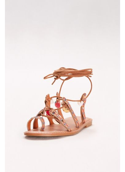 Bamboo Beige (Lace-Up Charm Gladiator Sandals)
