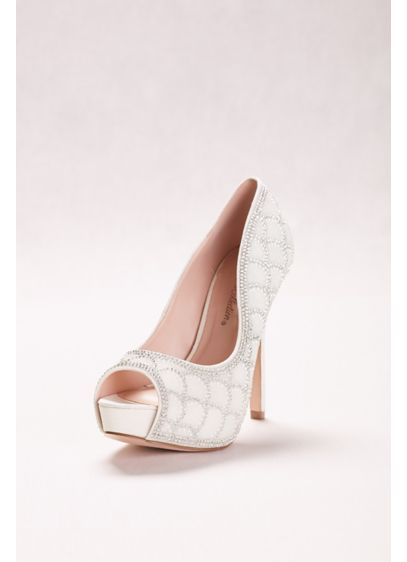 Blossom White (Peep-Toe Pump with Crystal Scalloping)