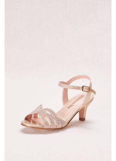 Blossom Yellow (Girls' Low Heel Quarter Strap Crystal Sandal)