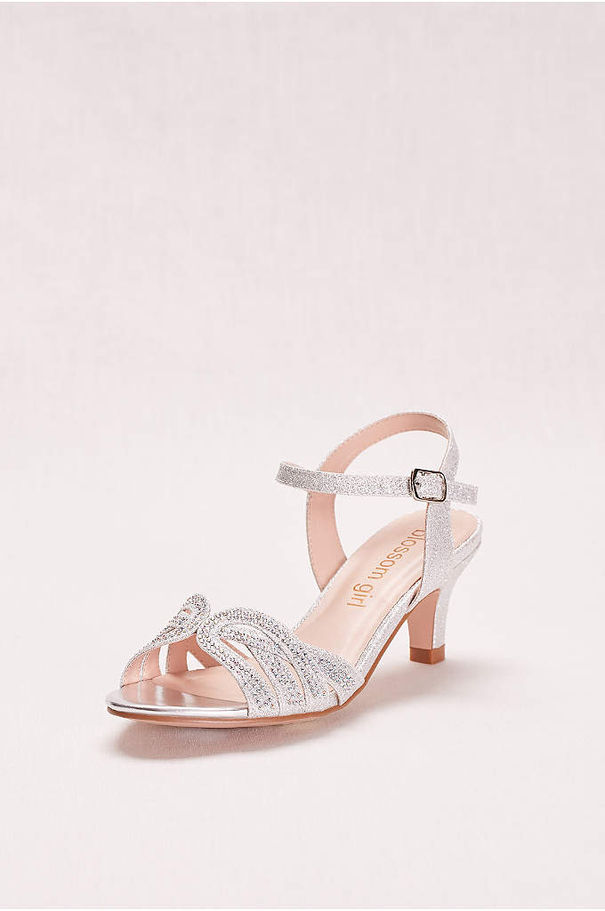 Girls' Low Heel Quarter Strap Crystal Sandal - The interlocking knot pattern on the toe of