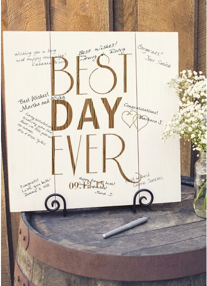Personalized Best Day Ever Wood Art Guest Book - Wedding Gifts & Decorations