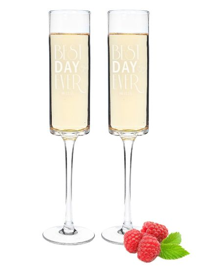 Personalized Best Day Ever Contemporary Flutes - Wedding Gifts & Decorations