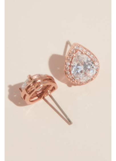 Pear-Shaped Cubic Zirconia Halo Studs - Wedding Accessories