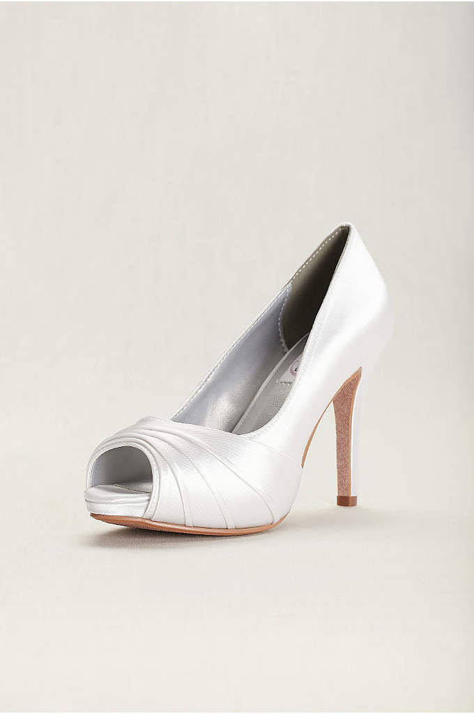 Bea Satin Dyeable High Heel Peep-Toe Pump - Bea is a simple sophisticated platform peeptoe pump