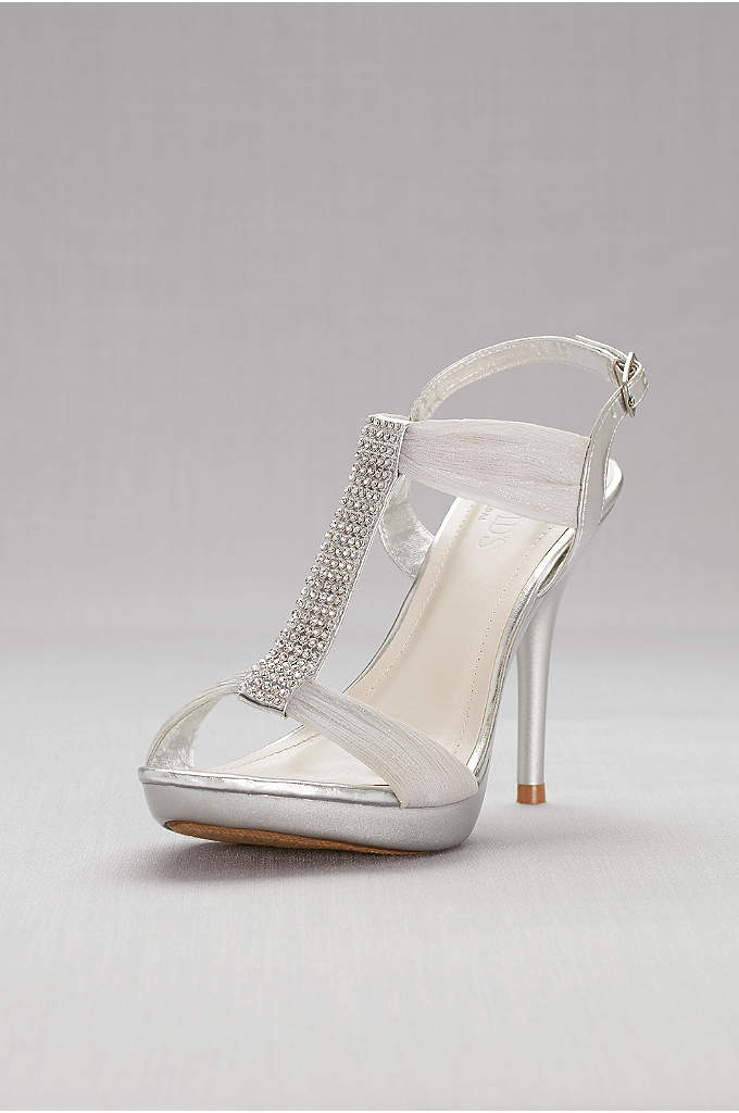 Crystal T-Strap High Heel Sandals - Gathered mesh straps and sparkling crystal T-straps add
