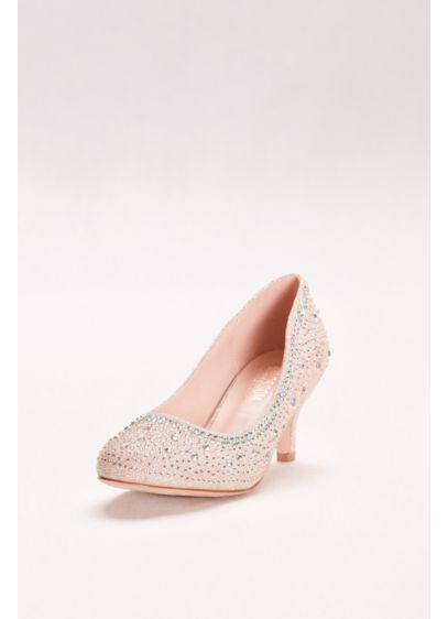 Blossom Beige (Low-Heeled Pumps with Crystal Embellishment)