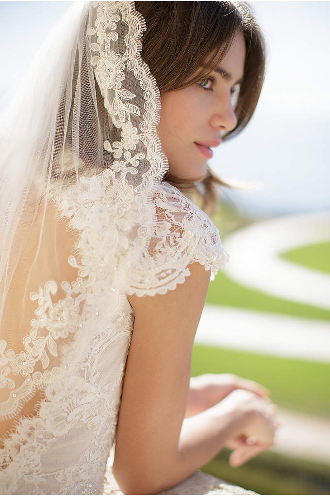 Floral Lace-Trimmed Tulle Veil with Comb - Hand-sewn floral alencon lace trims the edges of