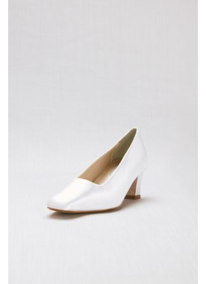 Touch Ups White (Dyeable Simple Satin Low-Heel Pumps)