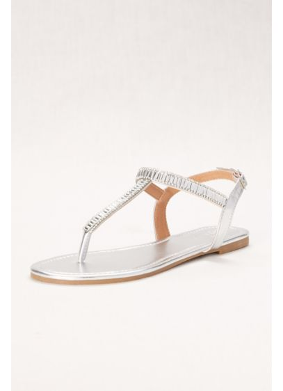 David's Bridal Grey (Baguette Crystal T-Strap Sandal)