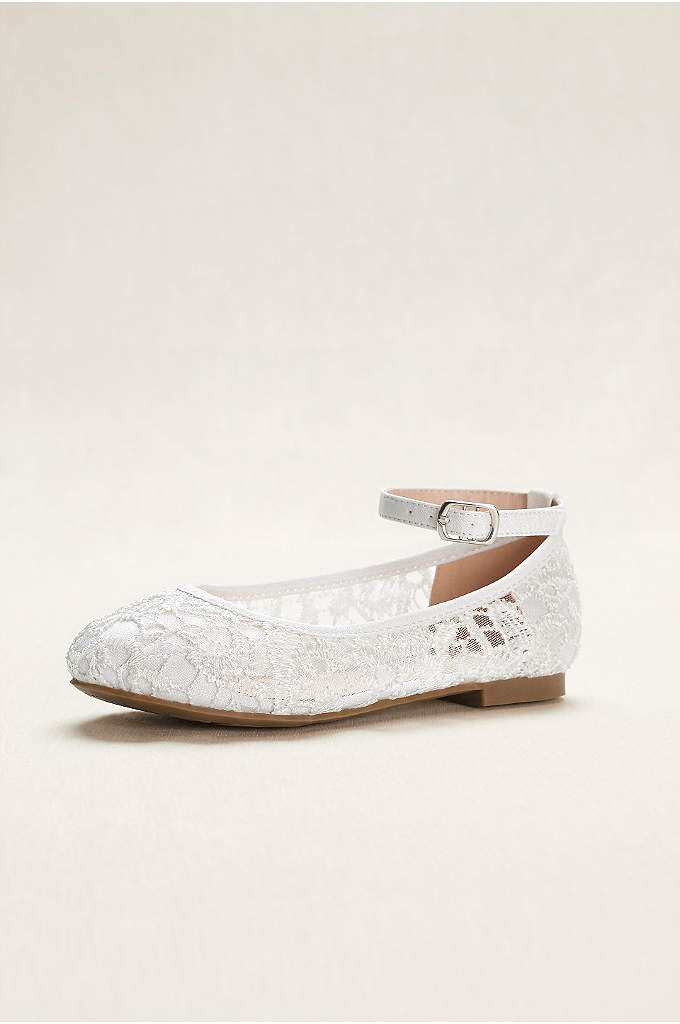 Flower Girl Crochet Lace Ballet Flats - A sweet shoe option for flower girls, these