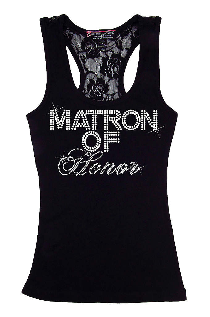 Matron of Honor Big Bling Lace Tank - Make your girls feel special in this trendy