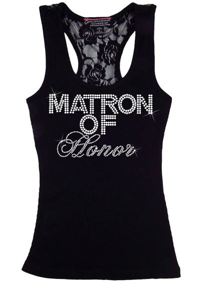 Matron of Honor Big Bling Lace Tank - Wedding Gifts & Decorations