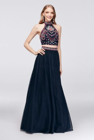 Two Piece Ball Gown Prom Dresses