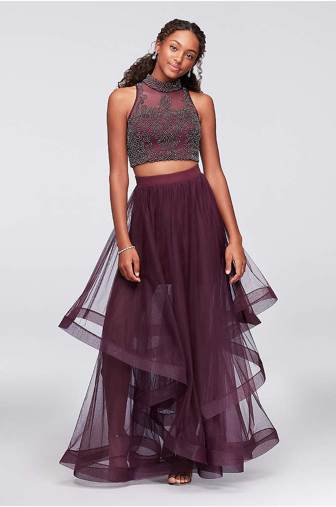 High-Neck Illusion Two-Piece Dress with Beading - Shimmering pewter beading dazzles on the illusion bodice