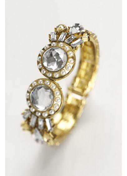 Crystal and Pearl Encrusted Hinge Bracelet - Wedding Accessories