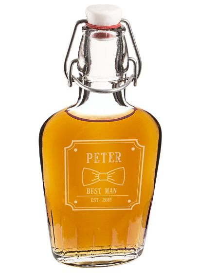 Personalized Bow Tie Glass Flask BO-1172