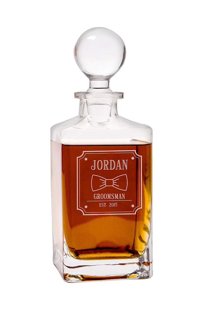 Personalized Bow Tie Square Whiskey Decanter - Complete your groomsmen's attire with a Personalized Bow