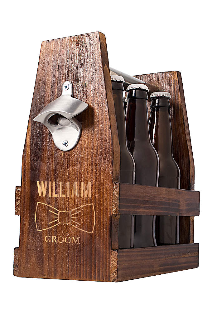 Personalized Bowtie Craft Beer Holder - Crafted with a rustic appeal and engraved with