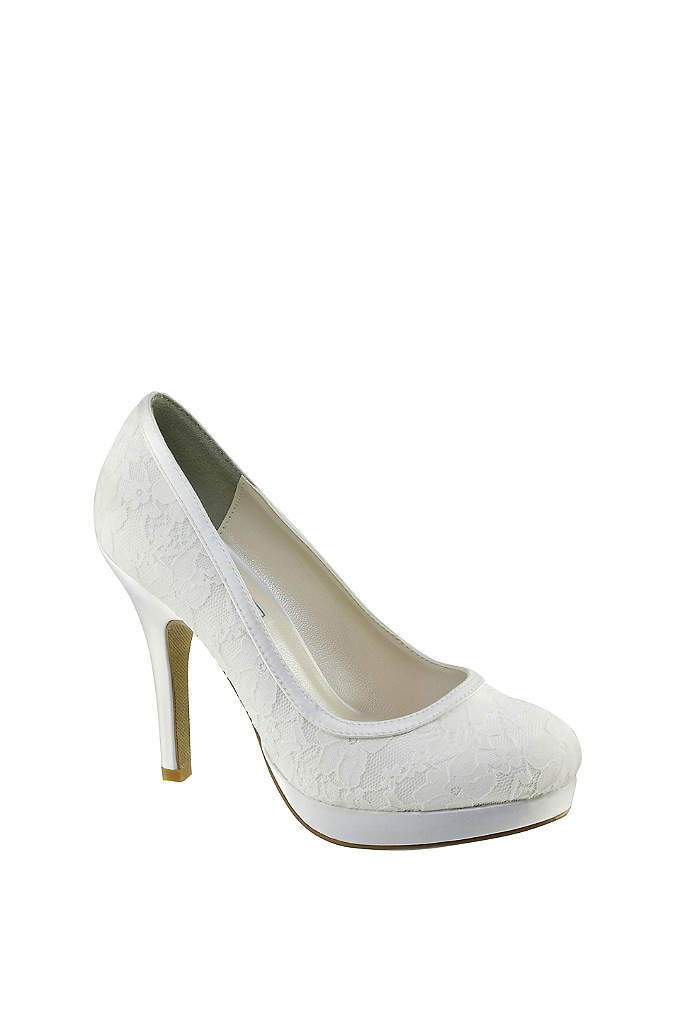 Dyeable Lace Round-Toe Platform Heels - An elegant dyeable lace and satin pair with