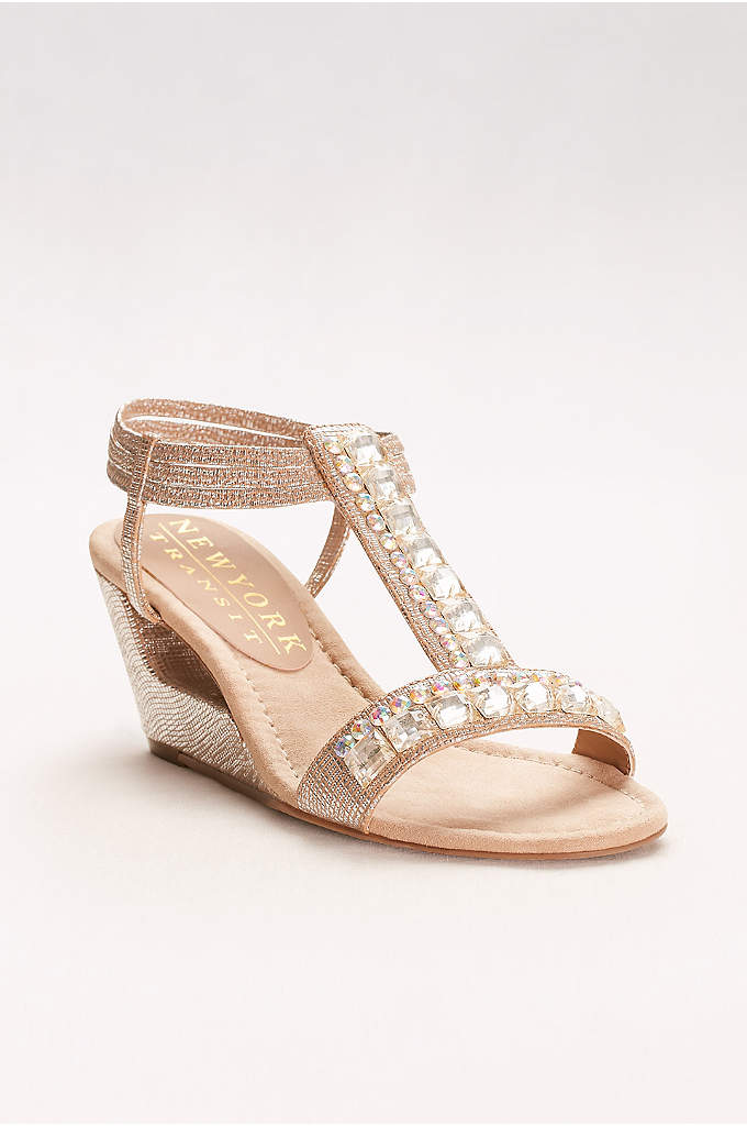 Double Crystal T-Strap Wedges - Double-down on the shine with this metallic wedge