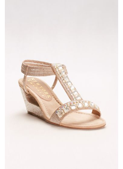 New York Transit Beige (Double Crystal T-Strap Wedges)