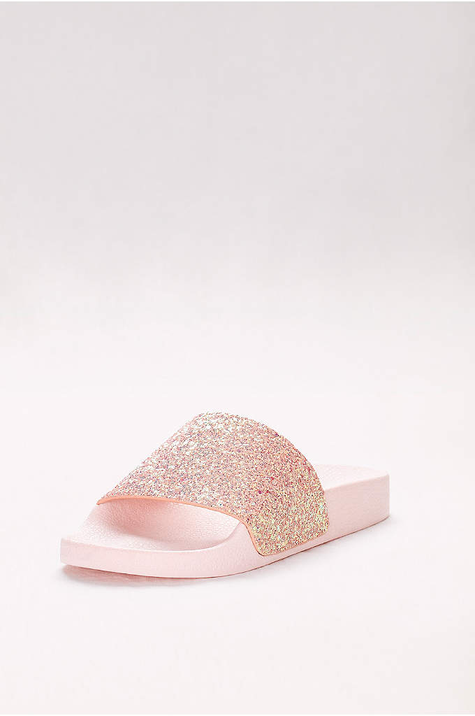 Iridescent Glitter Slides - Perfect for sporting poolside and pairing with summery