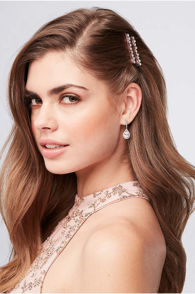 Rose Gold Crystal Bobby Pins - Add a touch of blush to your up-do