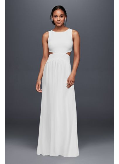 Long crepe column dress with side cutouts david 39 s bridal for Nicole miller beach wedding dress