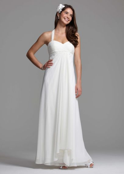 Halter Chiffon A-Line with Center Front Draping BR1016
