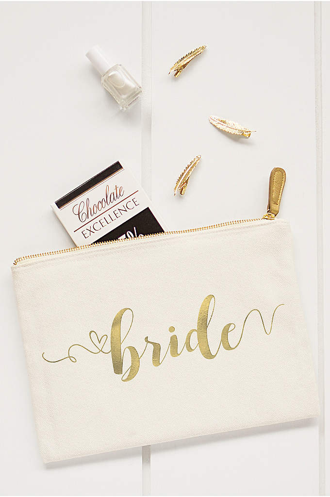 Gold Foil Bride Canvas Clutch - From mascara to lipstick, the Gold Foil Bride