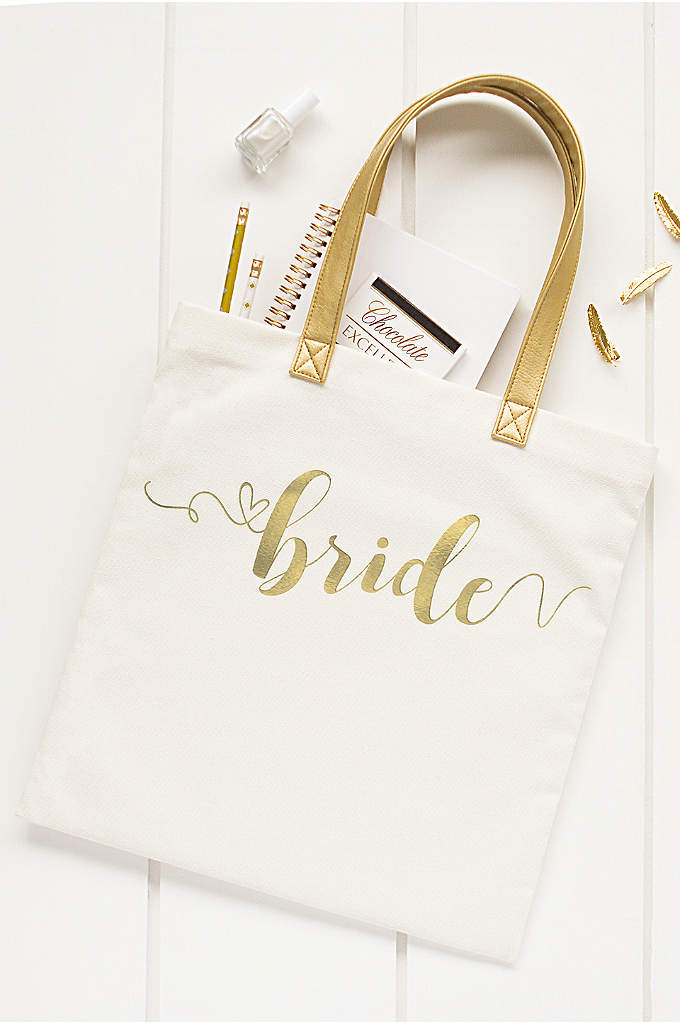 Gold Foil Bride Canvas Tote Bag - Keep all your essentials in one place with