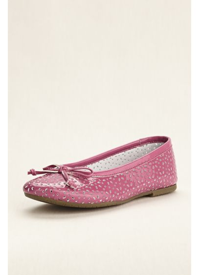 Rachel Shoes Grey (Flower Girl Patent Laser Cut Ballet Flats)