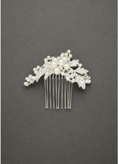 Spray Comb Featuring Pearl Clusters and Crystal - Wedding Accessories