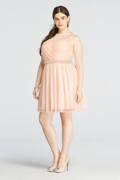 plus size short mesh dress with beaded waist | david's bridal