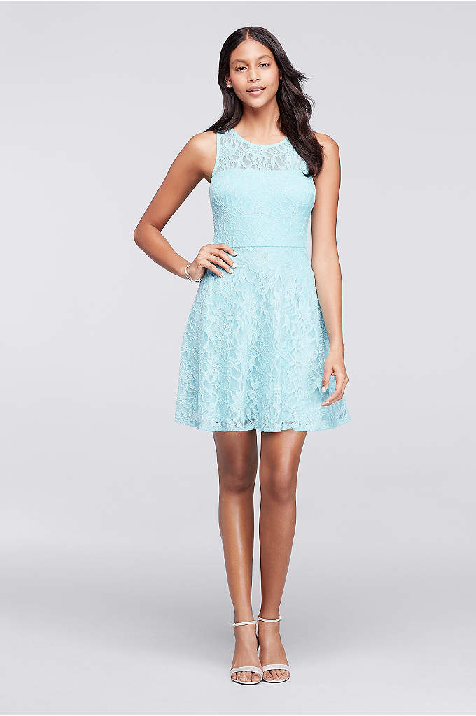 Short Sleeveless Lace Dress with illusion Neckline - This short sleeveless lace dress is ready for
