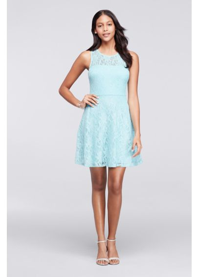 Short Sleeveless Lace Dress with illusion Neckline C64441HWR