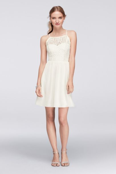 Glitter Lace Halter Dress with Button Back Detail | David's Bridal