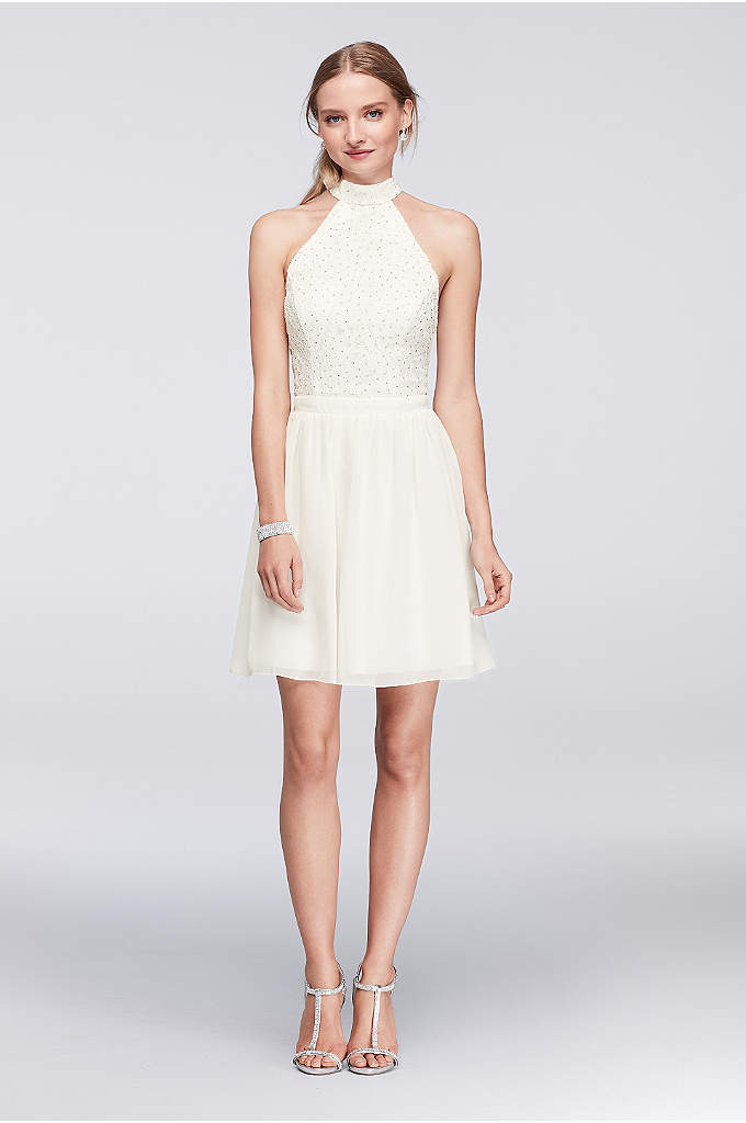 Glitter Lace High-Neck Dress with Keyhole Back - This high-neck lace and chiffon party dress is