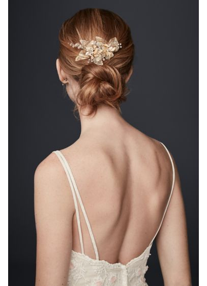 Organza and Crystal Floral Hair Clip - Wedding Accessories