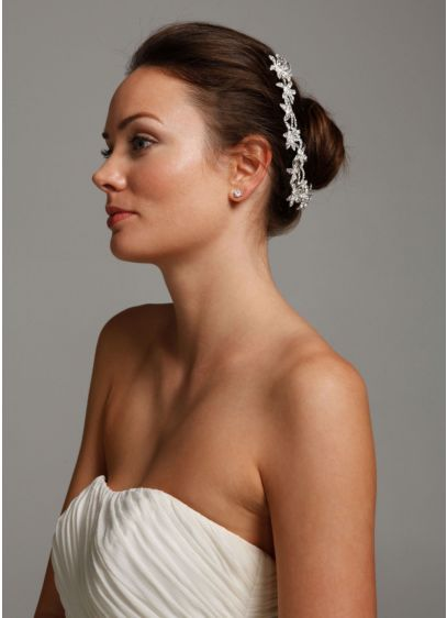 Flower Bun Wrap with Crystals - Wedding Accessories