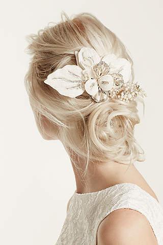 Tocado Floral Con Perlas y Cristales