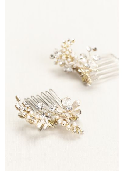Etched Floral and Crystal Duo Comb - Wedding Accessories