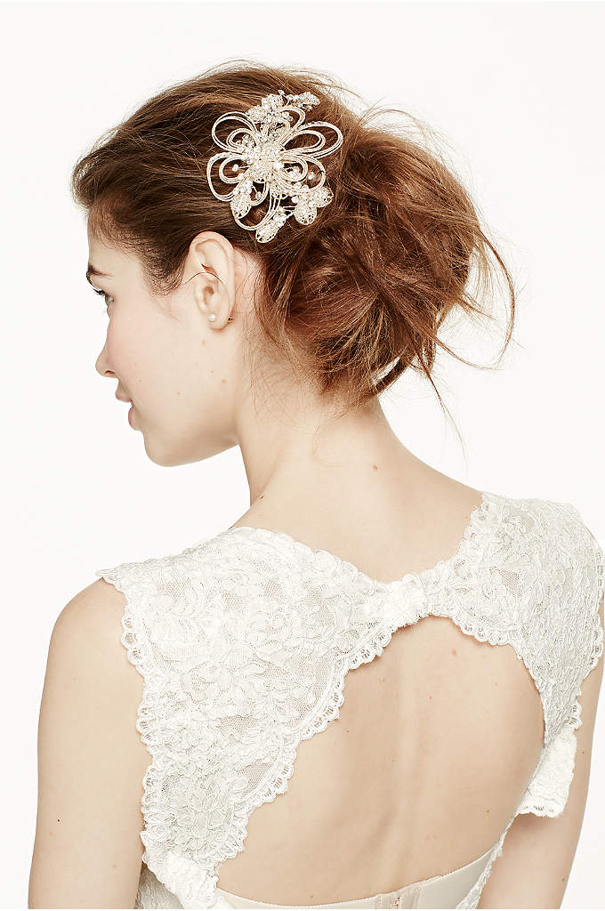 Open Wire Flower with Crystal and Seed Bead - Put the finishing touches on your unique bridal