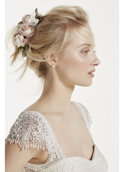 Rose and Tulle Flower Clip - Wedding Accessories