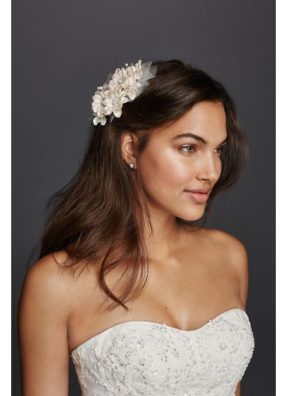 Flower and Tulle Hair Comb - Wedding Accessories