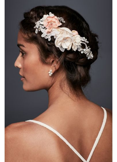 Fabric Floral Comb with Crystals - Wedding Accessories